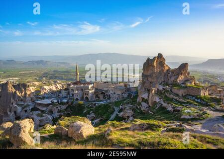 The landscape of cappadocia, Turkey. The view from the top of the hill overlooks the Uchisar Castle and this old town is a sandstone mountain. In summ