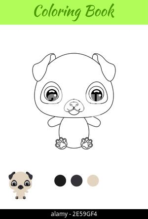 Coloring Book Little Baby Pug Dog Coloring Page For Kids Educational Activity For Preschool Years Kids And Toddlers With Cute Animal Stock Vector Image Art Alamy