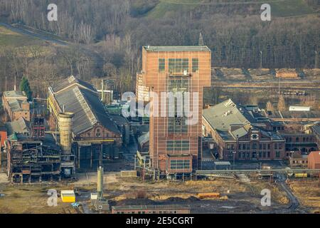 Luftbild mit Hammerkopfturm im Bergwerk Ost Zeche Heinrich Robert, CreativRevier in Wiescherhöfen, Hamm, Ruhrgebiet, Nordrhein-Westfalen, Deutschland,