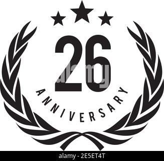 26th year anniversary emblem logo design vector template - Stock Photo