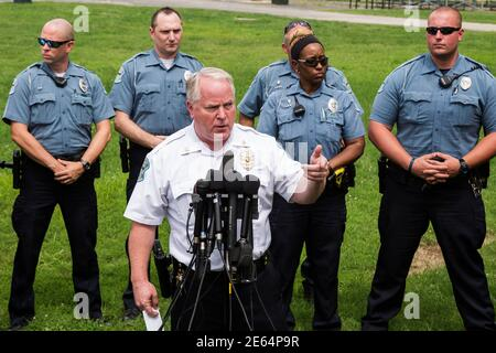 Ferguson Police Chief Thomas Jackson answers questions from the media about his office's handling of the release of information following the shooting of Michael Brown in Ferguson, Missouri August 15, 2014. Picture taken August 15, 2014. REUTERS/Lucas Jackson (UNITED STATES - Tags: CIVIL UNREST CRIME LAW POLITICS)