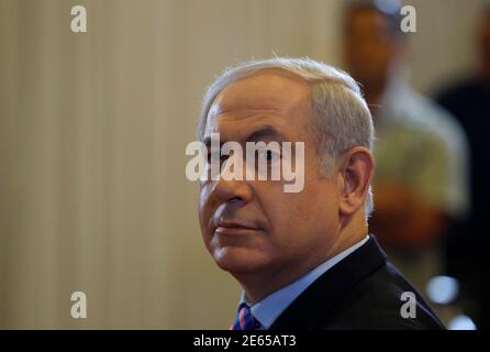 Israel's Prime Minister Benjamin Netanyahu is seen before testifying at a state-appointed inquiry into the Israeli naval raid on a Gaza aid flotilla, in Jerusalem August 9, 2010. Netanyahu on Monday told the inquiry that he could not 'afford to ignore a threat to Israel's existence'. REUTERS/Ronen Zvulun (JERUSALEM - Tags: POLITICS CIVIL UNREST)