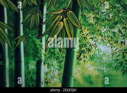 Art Oil painting Fine art color Sacred bamboo grove