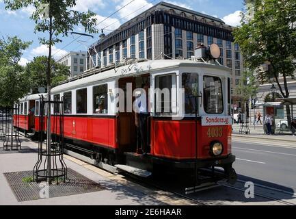 A vintage tram runs on Ringstrasse street in Vienna, Austria, June 28, 2016. REUTERS/Heinz-Peter Bader