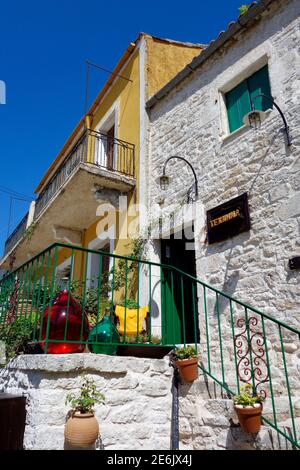 Colourful houses in the village of Kioni, Ithaca - Stock Photo