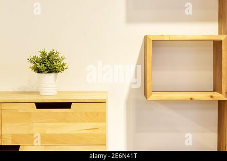 Green plant in white pot decorating modern wooden dresser and square wooden shelf.
