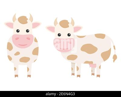 Cute cows charcaters set. Farm cartoon animals. Vector illustration isolated on white - Stock Photo