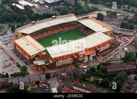 An aerial view of Molineux Stadium home of Wolverhampton Wanderers Football Club in Waterloo Road Stock Photo