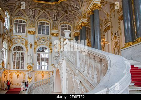 Jordan Staircase in 18th century Baroque style in the Winter Palace / State Hermitage Museum in Saint Petersburg, Russia - Stock Photo
