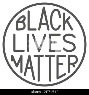 Black lives matter poster in round frame solid icon, BLM concept, BLM poster sign on white background, Protest banner about human right of black - Stock Photo