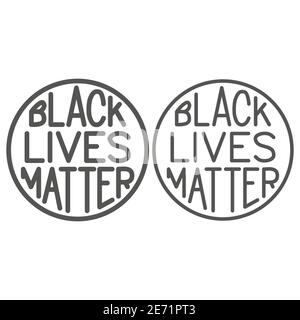 Black lives matter poster in round frame line and solid icon, BLM concept, BLM poster sign on white background, Protest banner about human right of - Stock Photo