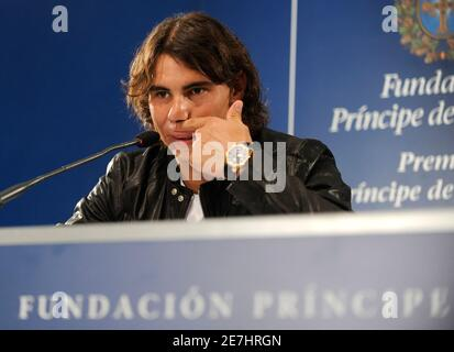 Spanish tennis player Rafael Nadal attends a news conference in Oviedo October 23, 2008. Nadal will be awarded with the 2008 Prince of Asturias Sports award at a traditional ceremony on Friday in the Asturian capital. The Prince of Asturias Awards are held annually since 1981 to reward scientific, technical, cultural, social and humanitarian work done by individuals, work teams and institutions. REUTERS/Eloy Alonso (SPAIN)