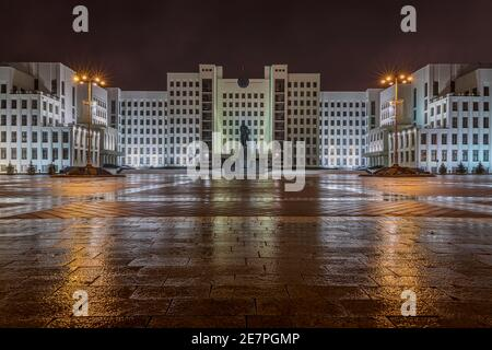 The Lenin Monument in front of the Government house at the independence square in Minsk seen at a rai