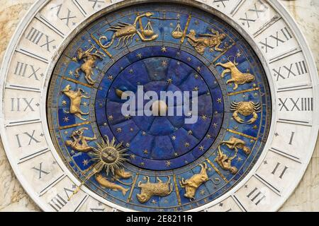 Astrological signs, zodiac symbols on St Mark's Clock Tower renaissance building on the the Piazza San Marco in Venice, Italy