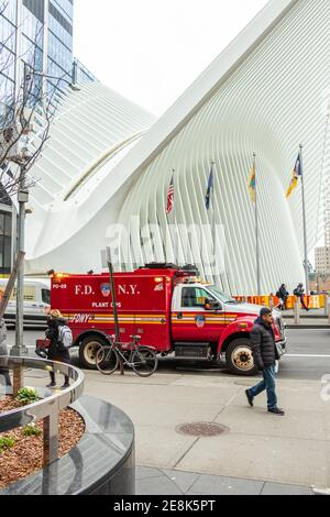 NYFD fire department truck in front of Oculus shopping Center at World Trade Center Ground Zero
