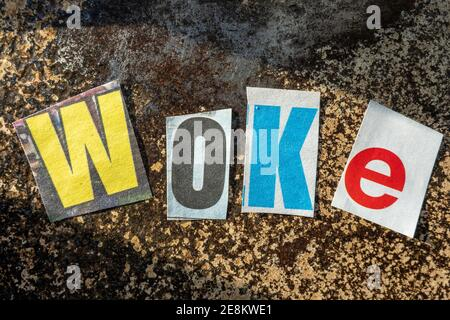 TheTerm 'Stay WOKE' using cut-out paper letters in the ransom note effect typography
