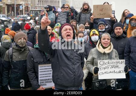 Moscow, Russia. 31st Jan, 2021. Protesters chant slogans during the demonstration. More than five thousand people were detained during the rallies held in various cities of Russia in support of the opposition leader Alexey Navalny who was arrested on January 17 when he returned from Germany, where he had spent five month recovering from poisoning. Credit: SOPA Images Limited/Alamy Live News