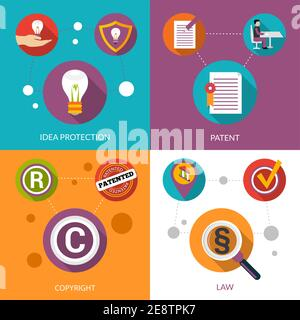 Patent idea protection design concept set with copyright and law flat icons isolated vector illustration