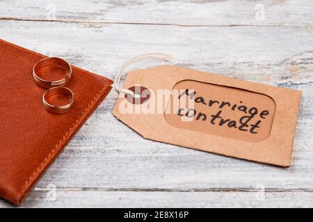 Marriage contract label.