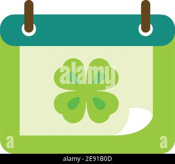 happy st patricks day calendar reminder with clover icon vector illustration - Stock Photo