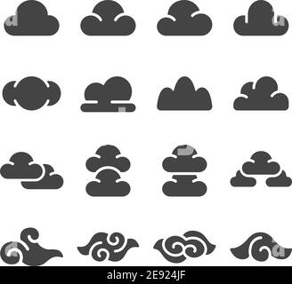 cloud icon set,solid style,vector and illustration