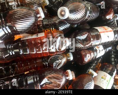 Piled plastic bottles, Lyon, France
