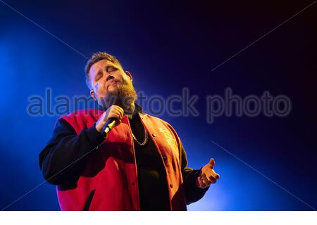 Rag'n'Bone Man (singer Rory Graham) performing live at the first edition of MUSILAC Mont-Blanc music festival in Chamonix (France) - Stock Photo