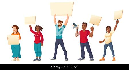 People strike, angry men and women with placards protest on rally demonstration. Characters holding banners and megaphone fight for their rights, citi - Stock Photo
