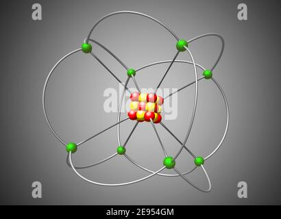 Atom nuclear model. Abstract atom structure, 3D illustration - Stock Photo