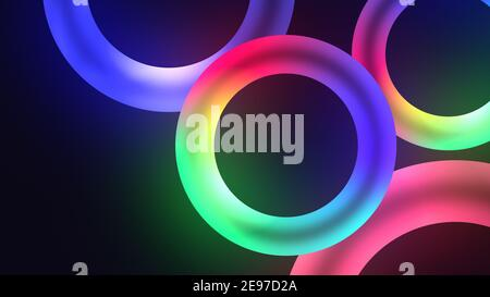 Colorful illuminating circles or torus with nice dynamic Glowing light effect, lowing torus shape, scanning rings, laser show technology, esoteric ene