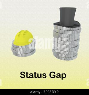 3D illustration of Status Gap script under a safety helmet on small pile of coins and cylider hat on a higher pile of coins, isolated over pale yellow