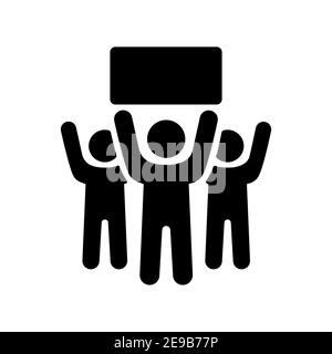 Crowd of people standing and holding in raised hands sign, banner, card vector glyph icon. Demonstration, protest, strike, revolution - Stock Photo
