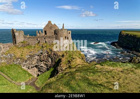 Bushmills, Northern Ireland, UK. 29th April, 2016. Dunluce Castle was built between the 15th and the 17th centuries  in Bushmills, Northern Ireland.