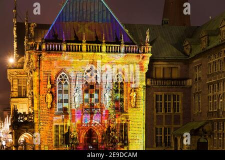 Illuminated historic Bremen town hall, light art in Bremen's old town 2020, Germany, Bremen