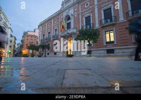 Valencia Spain on December 10, 2020: Night in Christmas archbishop square.