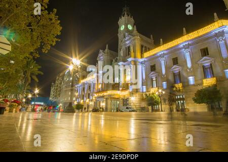 Valencia Spain on December 10, 2020: Night in Christmas Town hall square.