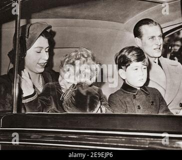 EDITORIAL The Royal Family arrive back in London after a stay in Sandringham. Elizabeth II, Queen of the United Kingdom, born 1926.  Prince Philip, Duke of Edinburgh, born Prince Philip of Greece and Denmark,1921-2021. Husband of Queen Elizabeth II of the United Kingdom. Charles, Prince of Wales, born 1948.  Heir apparent to the British throne as the eldest son of Queen Elizabeth II.  Anne, Princess Royal, Anne Elizabeth Alice Louise; born1950. Second child and only daughter of Queen Elizabeth II and Prince Philip, Duke of Edinburgh.