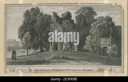 Medmenham Abbey, near Henley on Thames. Visual Material information:  Title: Medmenham Abbey, near Henley on Thames. 8.32.2.b. Place of publication: [London] Publisher: [W. Peacock]., Date of publication: [1819]  Item type: 1 print Medium: etching Dimensions: sheet 3.4 x 6.3 cm [trimmed within platemark].  Former owner: George III, King of Great Britain, 1738-1820 - Stock Photo