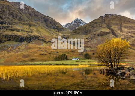Glen Coe, Scotland: Solitary house in the Scottish Highlands along the river Coe in evening light