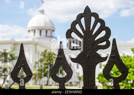 Alabama Montgomery State Capitol building,First White House of the Confederacy,wrought iron gate fence detail,