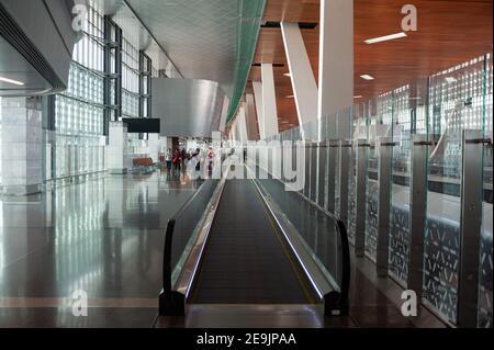 05.06.2019, Doha, Qatar, Asia - Interior view of the new Hamad International Airport.
