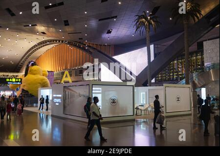 27.06.2019, Doha, Qatar, Asia - Interior view of the new terminal at Hamad International Airport.