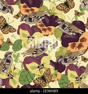 Vintage flowers seamless pattern with pansy petunia viola butterflies and sparrow birds vector illustration