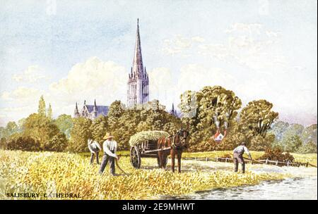A coloured postcard of Salisbury Cathedral dating from the 1920s. - Stock Photo