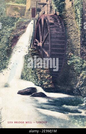 A coloured postcard of Lyn Bridge Mill, Lynton posted in 1905 - Stock Photo