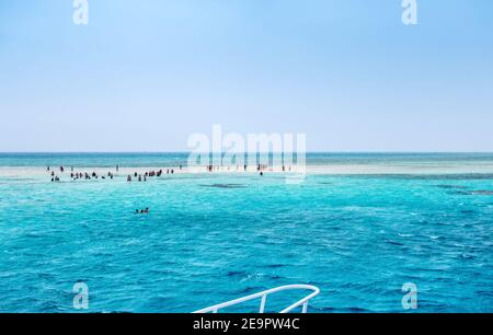Deep Blue ocean water surface beautiful places Ras Mohammed in the red sea swimming White Island. Snorkeling Boat Trip Sharm el Sheikh, Egypt.