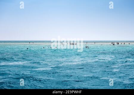Deep Blue ocean water surface beautiful places in the red sea swimming White Island. Traveling destinations Red Sea Seashore at Ras Mohamed National P