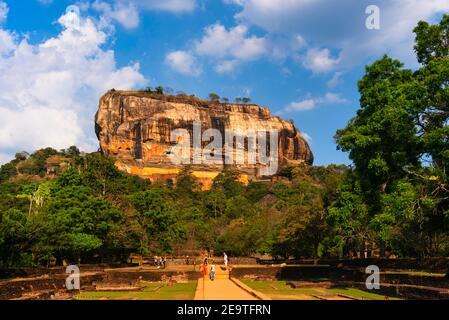 Lion's Rock in Sri Lanka. Blue Sky with clouds on a summer day