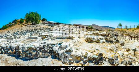 Original neolithic dwellings at Choirokoitia, Cyprus - Stock Photo