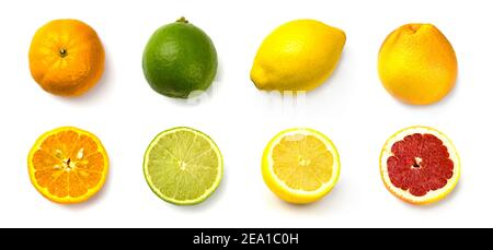 set grapefruit, lime, lemon and tangerine on white background